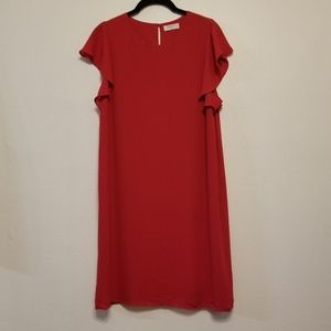 Aritzia Dresses - Babaton (Aritzia) ruffle cap sleeve red dress